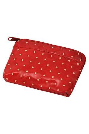 Leather purse DOTTA red