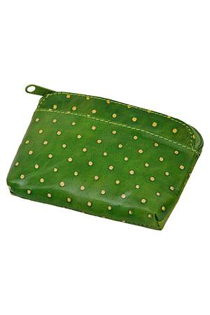 Leather purse DOTTA dark green