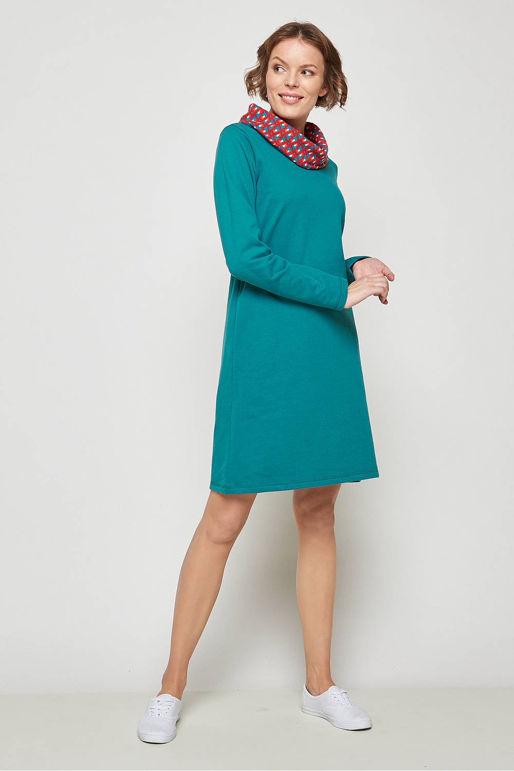 Polo neck dress Lacaille petrol