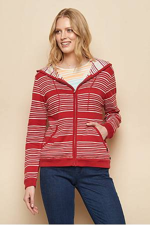 Kapuzenstrickjacke »Margarete« red stripes