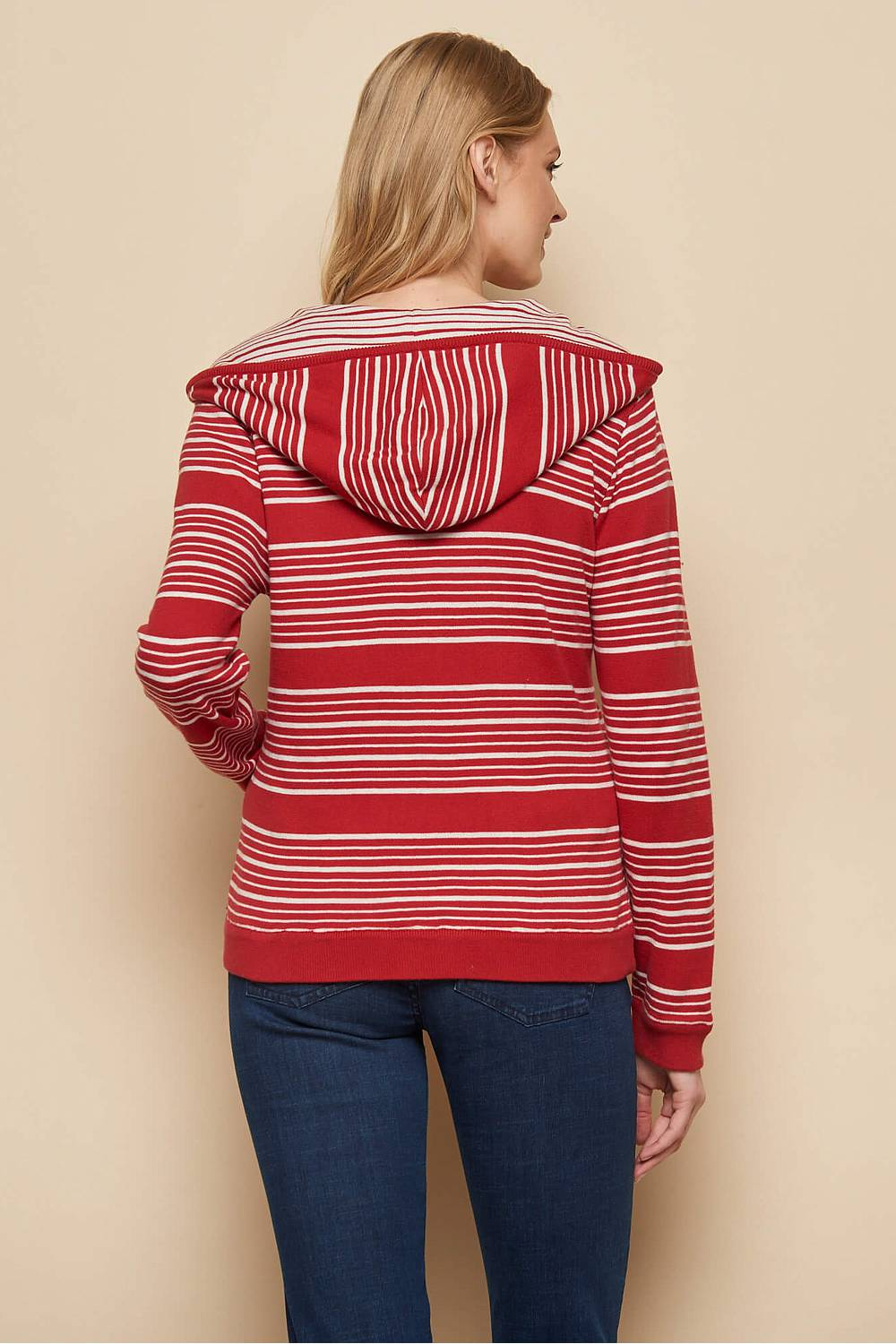 Kapuzenstrickjacke MAGARETE red stripes