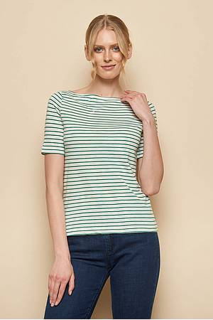 Slub‑Jersey-Shirt »Aja« green stripes