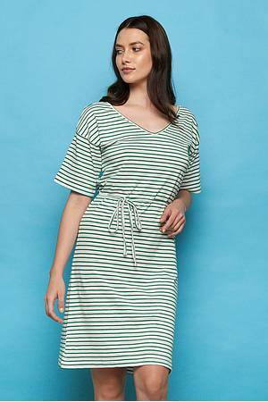 Slub-Jersey-Kleid »Aba« green stripes