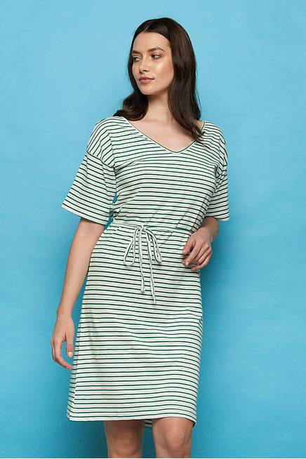 Slub Jersey Kleid ABA green stripes