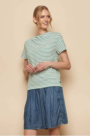 Slub Jersey-Shirt MABOU green stripes