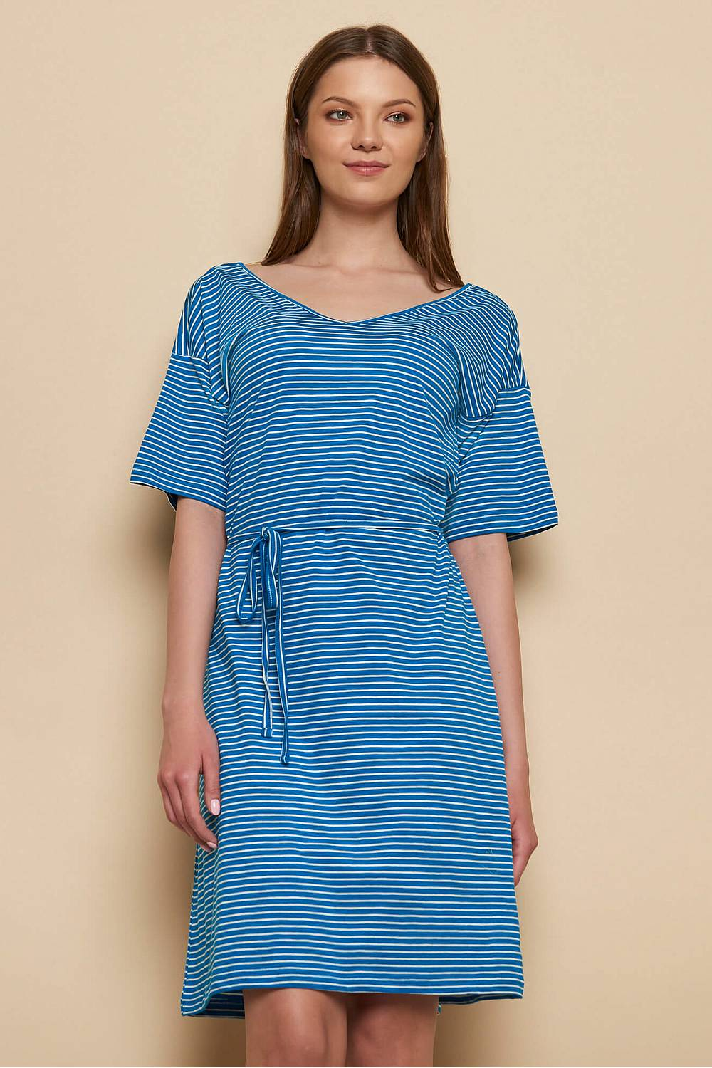 Slub Jersey-Kleid ABA blue stripes