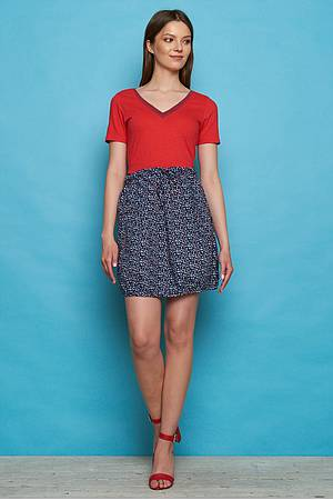 Cambric short skirt NIA red peas