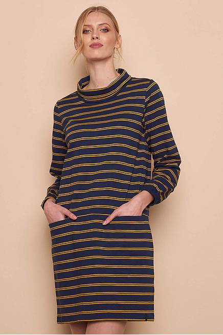 Heavy Slub Dress OLIV navy stripes
