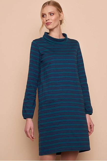 Heavy Slub Kleid OLIV pine stripes