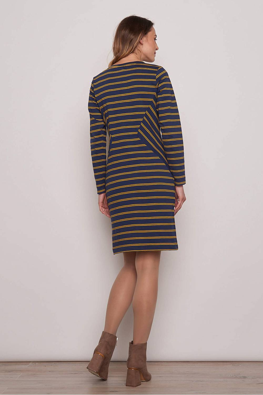 Heavy Slub Kleid ALBA navy stripes
