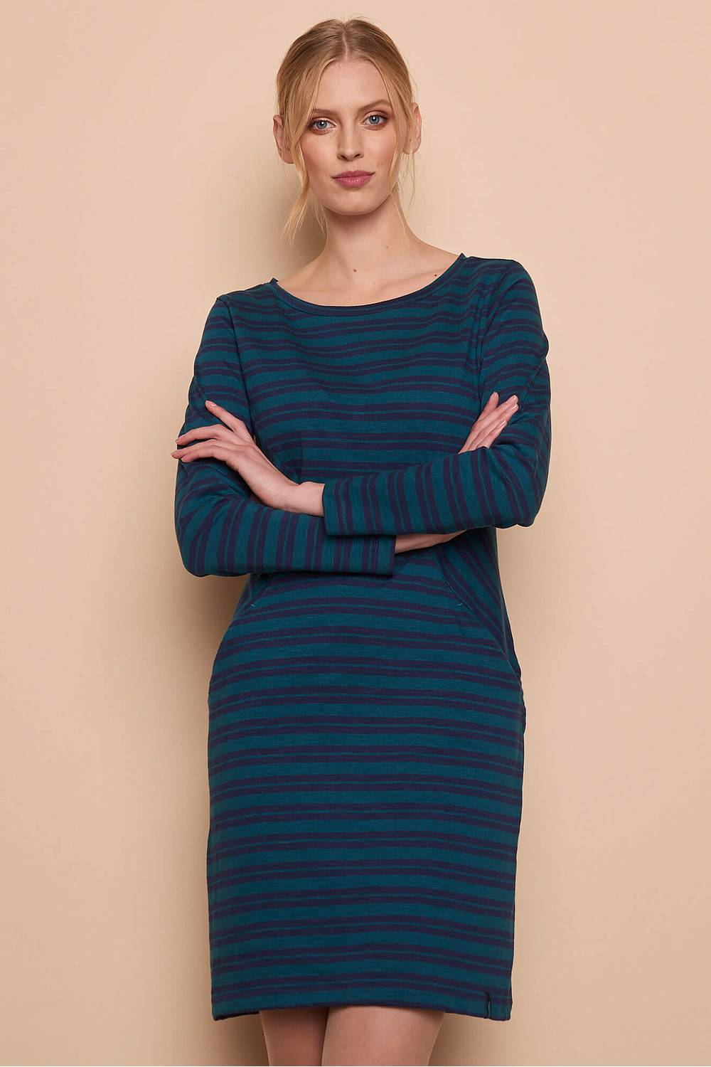 Heavy Slub Dress ALBA pine stripes