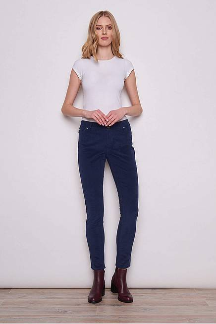 Skinny Cord Trousers KINE navy