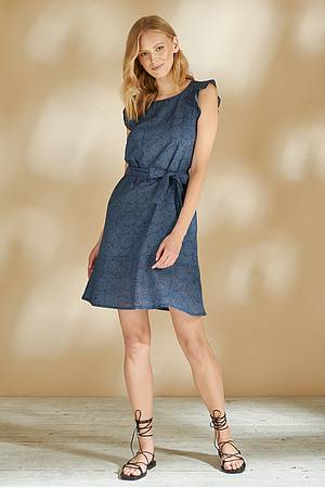 Cambric frilled dress MADJE blue ocean