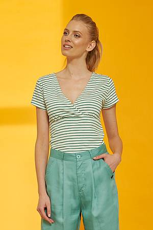 Slub Jersey-Shirt ALUNA green stripes