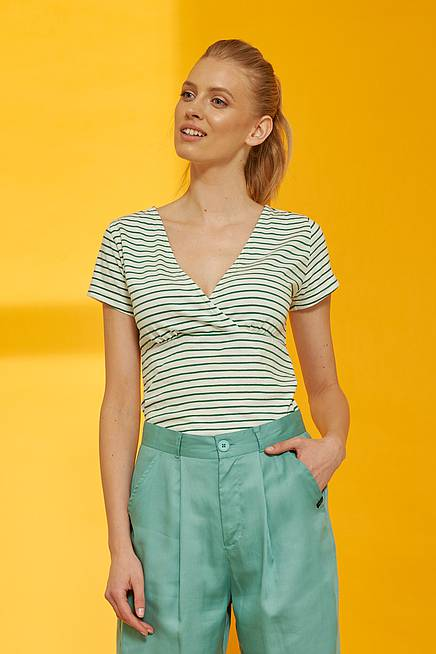 Slub Jersey  Shirt ALUNA green stripes