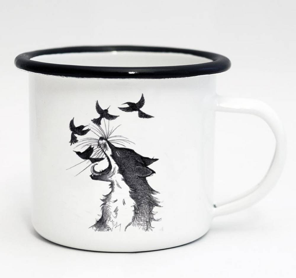 Emaille Tasse Fuchs & Vögel 500ml