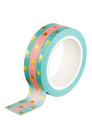 Washi Tape GOLDEN HEARTS STRIPED