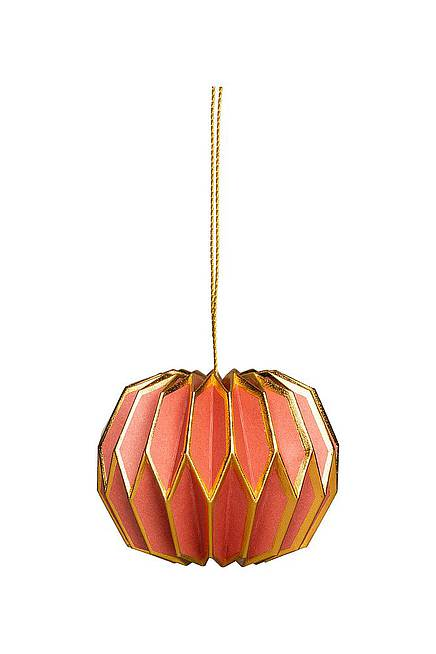 Paper Pendant 6 cm red-gold