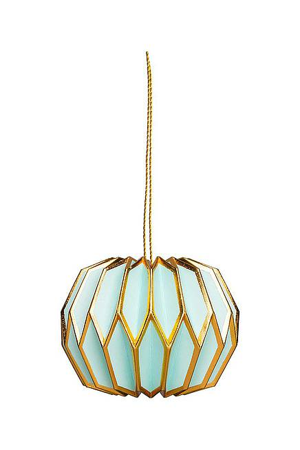 Paper Pendant light blue and gold