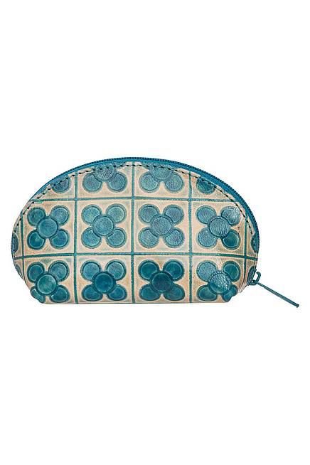 Leather purse PROPELLER blue