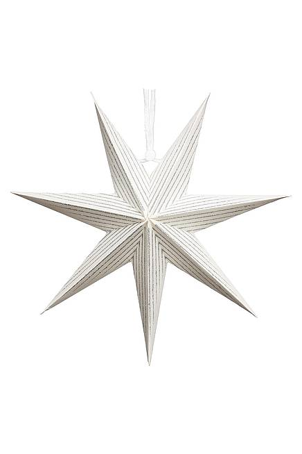 Paper star white silver lined 20 cm