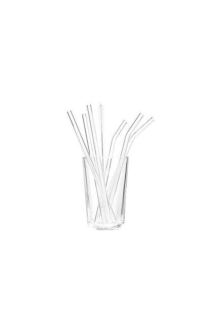 Straw Set of 6 glass colorless