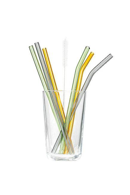 Straws Set of 6 glass colorful