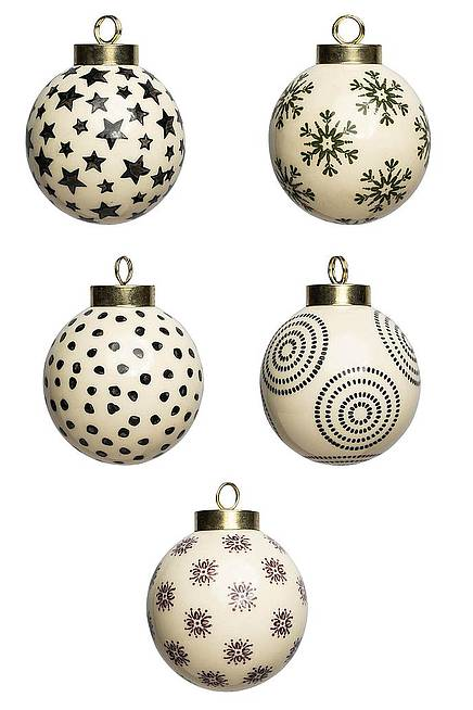 Mix Set of 5 Christmas ball small