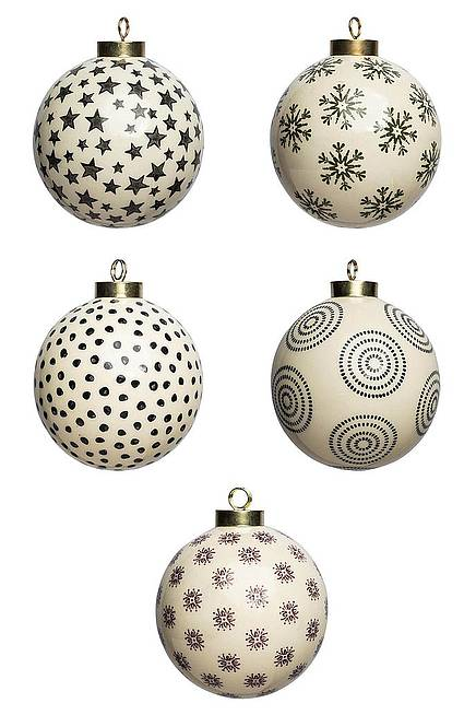 Mix Set of 5 Christmas ball large